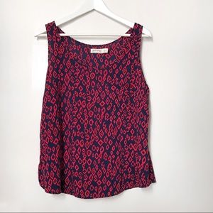 Faded Glory Red Navy Sleeveless Blouse. Sz L 12-14